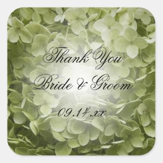 El boda verde del Hydrangea le agradece favorecer Pegatina Cuadrada