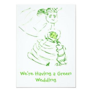 """El boda verde invita invitación 5"""" x 7"""""""
