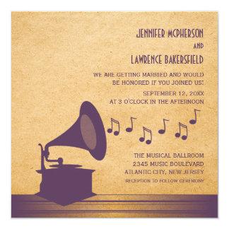 El boda violeta del gramófono del vintage invita invitación 13,3 cm x 13,3cm