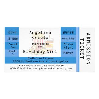 El boleto azul de la admisión del fiesta de la noc tarjeta fotográfica