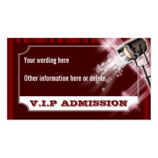El boleto de la admisión del boda de Hollywood PER Tarjetas Personales