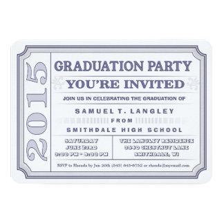 El boleto de la fiesta de graduación del azul de invitación 12,7 x 17,8 cm