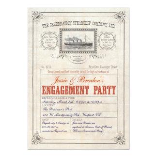 El boleto de la travesía del buque de vapor invita invitación 12,7 x 17,8 cm