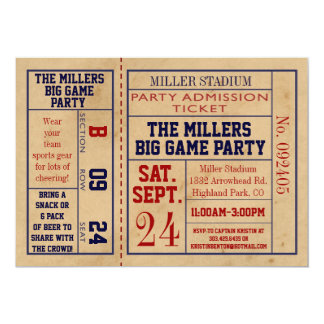El boleto de los deportes del vintage invita - al comunicado personalizado