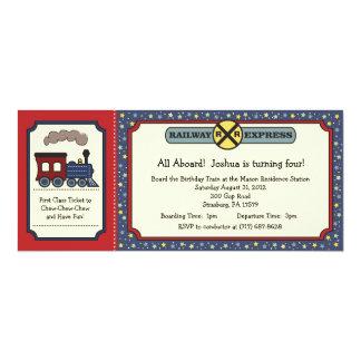 El boleto de tren invita - rojo rústico y el azul comunicados personalizados