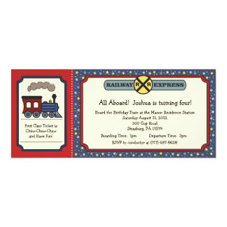 El boleto de tren invita - rojo y azul rústicos comunicados personalizados