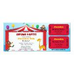 El boleto del cumpleaños del circo de los niños invitación 10,1 x 23,5 cm