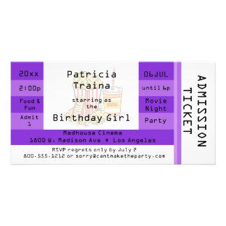 El boleto púrpura de la admisión del fiesta de la tarjetas fotograficas