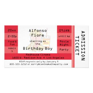 El boleto rojo de la admisión del fiesta de la tarjetas con fotos personalizadas