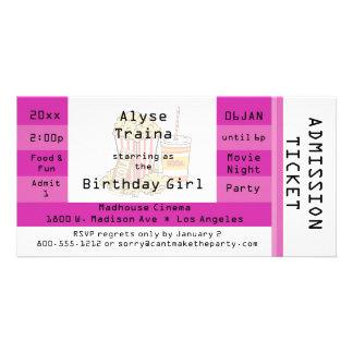 El boleto rosado de la admisión del fiesta de la n tarjetas fotográficas personalizadas