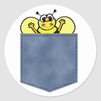 El bolsillo de Jean manosea la abeja Pegatina Redonda