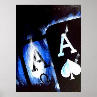 El bolsillo de la llama azul Aces el poster del pó