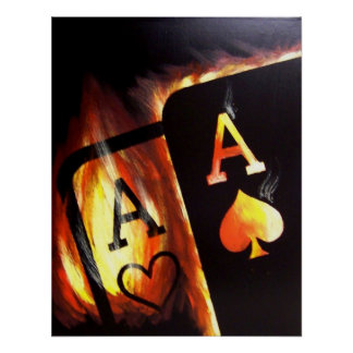 El bolsillo llameante Aces la pintura del póker de Poster
