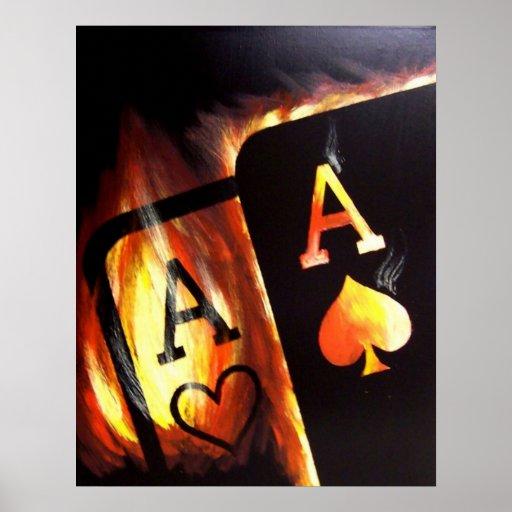 El bolsillo llameante Aces la pintura del póker de Póster
