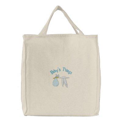 El bolso bordado cosas del bebé azul bolsas bordadas
