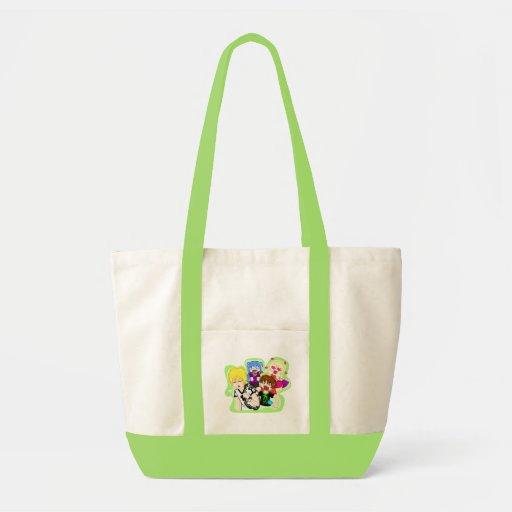El bolso bullicioso del manojo bolsas lienzo