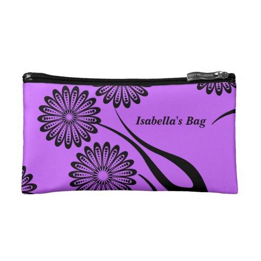 El bolso cosmético florece negro púrpura floral