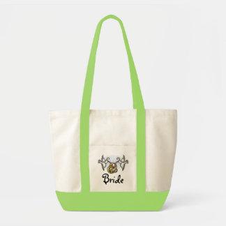 El bolso de la novia de las palomas del boda bolsa tela impulso