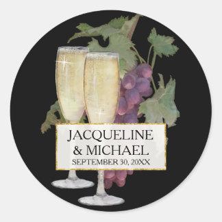 El bolso del favor sella el boda del viñedo de pegatina redonda