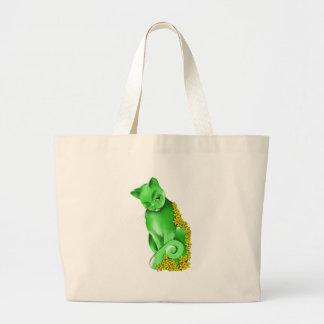 El bolso del gato del jade bolsa tela grande