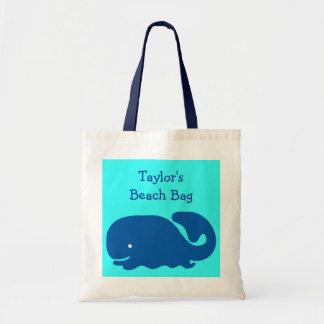 El bolso feliz lindo de la playa de la ballena azu bolsa tela barata