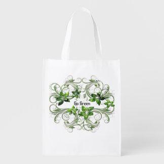 El bolso reutilizable va verde bolsa reutilizable