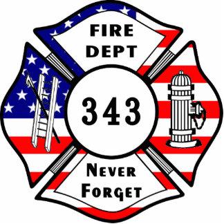 El bombero 9/11 nunca olvida 343 adorno fotoescultura
