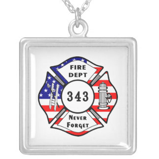 El bombero 9/11 nunca olvida 343 colgante cuadrado
