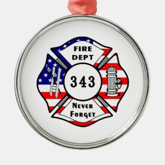 El bombero 9/11 nunca olvida 343 adorno redondo plateado
