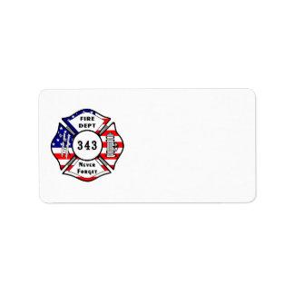 El bombero 9 11 nunca olvida 343 etiqueta de dirección