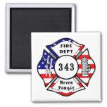 El bombero 9/11 nunca olvida 343 iman de frigorífico