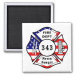 El bombero 9/11 nunca olvida 343 imán cuadrado