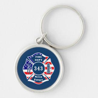 El bombero 9/11 nunca olvida 343 llavero redondo plateado