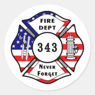El bombero 9/11 nunca olvida 343 pegatina redonda