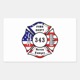 El bombero 9/11 nunca olvida 343 pegatina rectangular