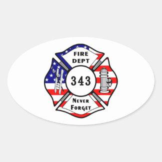 El bombero 9 11 nunca olvida 343 pegatinas de oval personalizadas