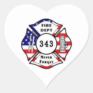 El bombero 9 11 nunca olvida 343 calcomania corazon
