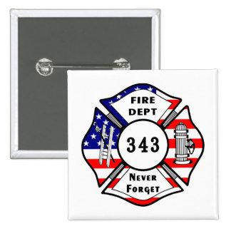 El bombero 9/11 nunca olvida 343 pin cuadrada 5 cm