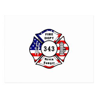 El bombero 9/11 nunca olvida 343 postales