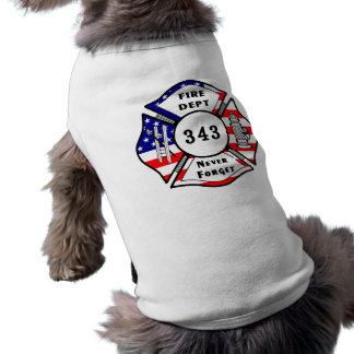 El bombero 9/11 nunca olvida 343 playera sin mangas para perro