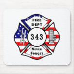 El bombero 9/11 nunca olvida 343 tapetes de raton