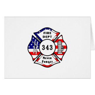 El bombero 9/11 nunca olvida 343 tarjeta pequeña