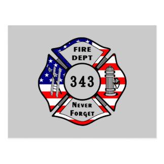 El bombero 9/11 nunca olvida 343 tarjetas postales