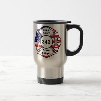 El bombero 9/11 nunca olvida 343 taza de viaje de acero inoxidable