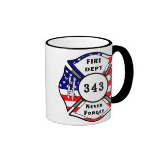 El bombero 9/11 nunca olvida 343 taza de dos colores