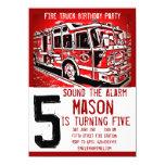 """El bombero del coche de bomberos embroma invitación 4.5"""" x 6.25"""""""