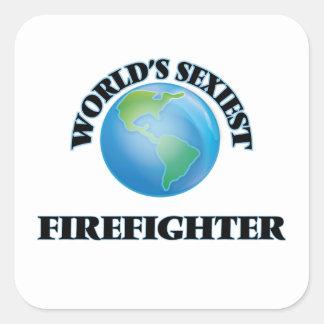 El bombero más atractivo del mundo pegatinas cuadradases personalizadas