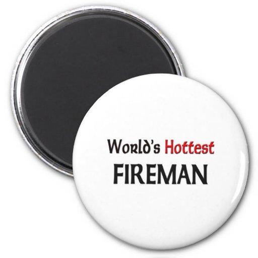 El bombero más caliente de los mundos imán redondo 5 cm