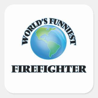 El bombero más divertido del mundo pegatinas cuadradases