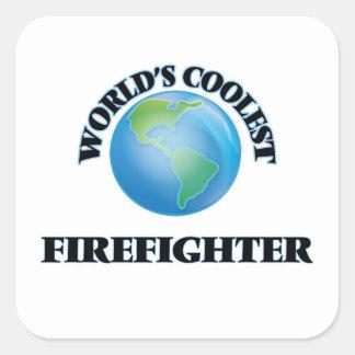 El bombero más fresco del mundo calcomanía cuadradas personalizada